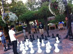 A pick-up game of chess in Santana Row's plaza