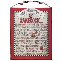 South Carolina - How To Be A Fan Canvas from Swoozies! @University of South Carolina @Gamecock Athletics #gamecocks #uofsc #decor