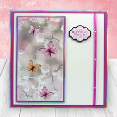 Card created using Hunkydory Crafts' Little Book of Floral Shimmer Kanban Cards, Craft Projects, Projects To Try, Hunkydory Crafts, Craft Stash, Card Companies, Butterfly Cards, Heartfelt Creations, Pop Up Cards