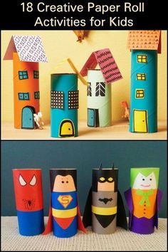 15 Fun & Easy Toilet Paper Roll Crafts For Kids - Basteln Ideen Cardboard Tube Crafts, Paper Towel Crafts, Toilet Paper Roll Crafts, Paper Crafts For Kids, Projects For Kids, Diy For Kids, Easy Crafts, Craft Projects, Tissue Roll Crafts