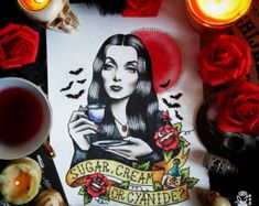 Morticia Addams clásico Tattoo Flash por ParlorTattooPrints en Etsy