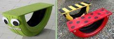 De jolies balancelles pour enfants faites avec des pneus. Source : Sweet teal Diy For Kids, Cool Kids, Old Tires, Children's Place, Kids And Parenting, Kids Playing, Playground, Repurposed, Activities For Kids