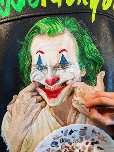 JOKER Jacket by @mossoodesign. Put on a happy face 🃏 #jokerjacket #thejoker #jokermovie #jokerart #putonahappyface #acbdefuckyou #joaquinphoenix Joker Jacket, Painted Leather Jacket, Joker Art, Leather Jackets, Put On, Jokes, Hand Painted, Smile, Face