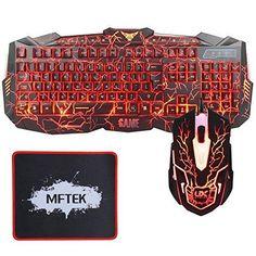 Oferta: 30.99€ Dto: -56%. Comprar Ofertas de MFTEK - Teclado (retroiluminada, 3 colores, LED, USB - kit con ratón y alfombrilla), color negro barato. ¡Mira las ofertas!