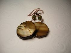 Mother of Pearl Picasso Czech Glass Antique Copper Earrings by TwinFlameDesigns, $11.74