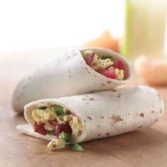 Breakfast Tortilla Wrap     Wrap up this balanced breakfast in a warm whole wheat tortilla. Our recipe is for one serving, but you can easily add to it to please a hungry breakfast crowd