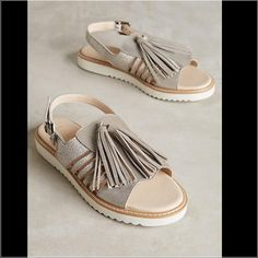 """Silver Fringe Sandals Lien.Do by Seychelles Veracruz Sandals by Lien.Do by Seychelle. Fits true to size, 9.5"""" L Adjustable buckle Leather upper, insole Synthetic sole Anthropologie Shoes Sandals"""