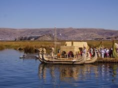 Reed Islands Peru | These are the reed boats built by the people of the Uros islands ...