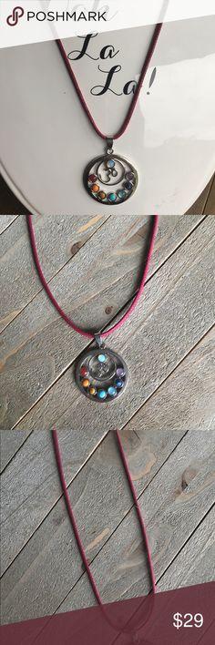 OM Chakra Necklace Beautiful handmade OM Chakra necklace with a red cord. Handmade Jewelry Necklaces