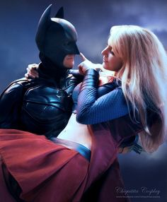 """Boop."" Batman and Supergirl appear to be getting along very well. #cosplay"