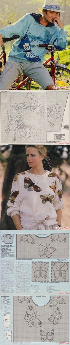 *Пуловеры и топ с бабочками - Жаккард - Страна Мам