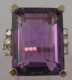 Mouse over image to zoom                                                                                                         Sell one like this            Estate 22c Amethyst .36c Diamond 14k Gold Cocktail Ring