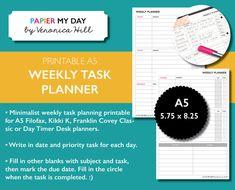 A5 Filofax Weekly Task Planner  Minimalist Design  by PapierMyDay