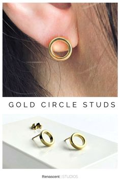 These are the newest gold hoop studs listed perfect for everyday earrings. They are also offered in sterling silver metals. They're light and super comfortable, they're the type of earrings you forget you have on 😄 #everydayearrings #circleearrings #openhoopearrings #studearrings #birthdaygift #anniversarygift #womenshoopsearrings #postearrings #renascentstudios #handmade #etsyshop #newjewelry #simplejewelry #everydayearrings #earcandy #earringstyle #earringlove #earringsfashion… Trendy Jewelry, Simple Jewelry, Women Jewelry, Birthstone Jewelry, Gemstone Jewelry, Circle Earrings, Stud Earrings, Types Of Earrings, Family Necklace