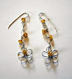 Crazy Daisy Earring Pattern by Jill Gentry, a Free Wire Jewelry Pattern from Wire-Sculpture.com