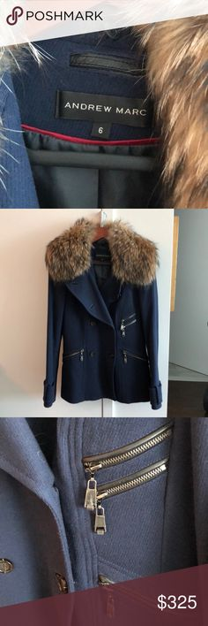 NWOT⚡️Andrew Marc Knit Coat w Fur Neckline Size 6 One button on sleeve missing (pictured), however replacement button is provided with coat (pictured)  Perfect condition  Plastic on zipper grasps still in tact   Beautiful spring/fall light coat (knit fabric)   Fur neckline ****REMOVABLE****  Double pleated in the back, stitching still in tact Andrew Marc Jackets & Coats