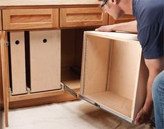 Build Organized Lower Cabinet Rollouts for Increased Kitchen Storage  Add convenient kitchen storage with these simple rollout bins