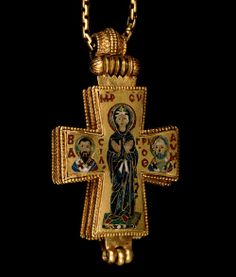 Early 11th century gold and enamel cross; from Constantinople.