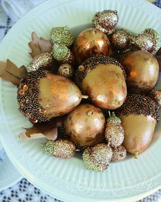 Glittered acorns..almost time to scoop them up from the yard...