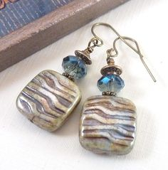 Pale Green Earrings Ocean Blue Square Dangles $26 etsy.com @ RockStoneTreasures