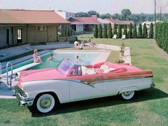 1956 Ford Fairlane Sunliner Convertible in the backyard