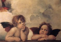 """Raphael's angels, detail in""""The Sistine Madonna"""" 1513-1514"""