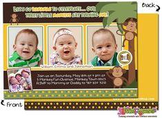 Personalised Cheeky Monkey 1st 2nd Birthday Boy Invitations pack 10,20,30,40,50