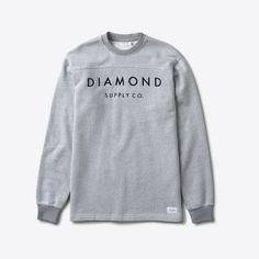 Diamond Supply – Stone Cut LS Football Top – Salt