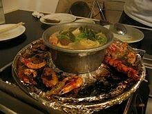 Combination of hot-pot and barbecue