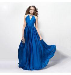 V-Ausschnitt Abendkleid mit Perlen Deluxe Königsblau