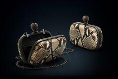 Dahlia python box clutch natural color with smoky quartz clasp closure Handmade Clutch, Black Rhodium, Smoky Quartz, Modern Luxury, Cow Leather, Python, Dahlia, Cufflinks, Closure