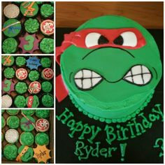 Ninja turtle cake and cupcakes!!!! search girlie girl sweets on facebook