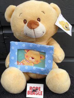 Pluche beer met een blauw foto lijstje 30 cm