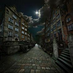 night photography of a neighborhood