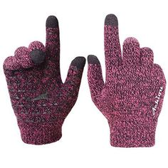 Achiou Winter Knit Gloves Touchscreen Warm Thermal Soft Lining Elastic Cuff Texting Anti-Slip 3 Size Choice for Women Men - Rose Red Thick Large Best Winter Gloves, Best Gloves, Knit Mittens, Knitted Gloves, Cold Fingers, Cold Weather Gloves, Winter Accessories, Clothing Accessories, Hand Warmers