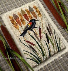 Michelle Palmer punch needle design pattern. DMC floss. Blackbird Swamp copyright 2016 Cattails acorns wheat red-winged blackbird. Fibers, home decor