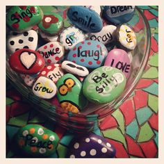 painted rocks, great idea, for company, everyone gets to take one home ;)