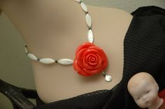Coral Rose Necklace Orange Rose Earrings Chunky by AmbientAtelier