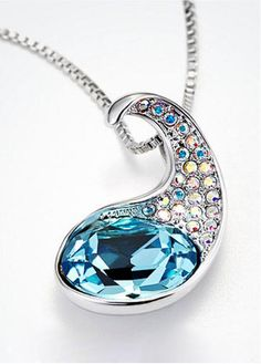 Beautiful Alloy With Swarovski Crystal Blue Womens Necklace