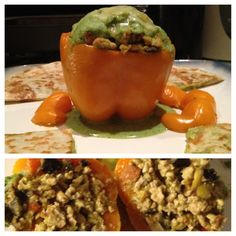Stuffed orange pepper with ground turkey, tomatoes, onions, and olives - topped with broccoli purée. Side of broccoli cheese quesadillas.