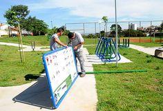 A empresa ASK Ltda. EPP, vencedora da licitação para construção de academias ao ar livre, retomou os serviços para a instalação de 14 conjuntos na cidade.
