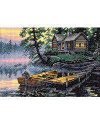 Morning Lake~  All is calm in the early hours at a peaceful lakeside cabin in our Morning Lake design. This counted cross stitch piece is perfect for any outdoor enthusiast. Kit contains presorted cotton thread, 18 count cotton ivory Aida, needle, and easy instructions.     Manufacturer:Dimensions, Inc.