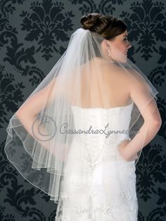 Fingertip Two Tier Wedding Veil with a Corded Edge from Cassandra Lynne