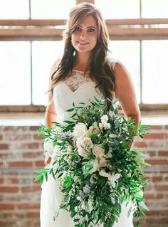 Lush greenery green and white bouquet