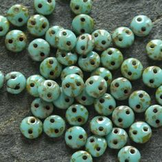 Czech Glass Beads 6mm Lentil Czechmate Two Hole Opaque Turquoise Picasso (50 beads)