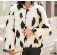 Beautiful Soft Faux Fox Fur Short Winter Fashion Coat XS-XL