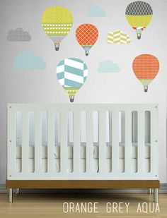 High in the Sky Hot Air Balloons  - WALL DECAL- Removable Wall Decal - Self Adhesive Vinyl on Etsy, $56.00