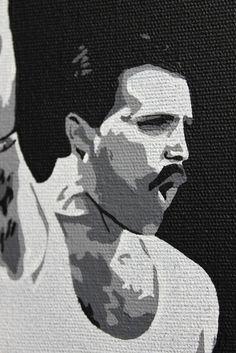 Quadro do cantor Fred Mercury em tecido artístico 100% algodão com pintura em tinta acrílica, tecnica de stencil.  Envernizado para melhor proteção e durabilidade.     #art #stencil #quadro #NTSart #artistic