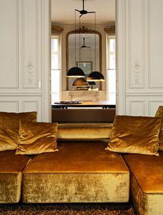 Home Interior Living Room .Home Interior Living Room Style At Home, Home Living, Living Spaces, Living Rooms, Interior Architecture, Interior And Exterior, Modern Interior, Modern Sofa, Parisian Architecture