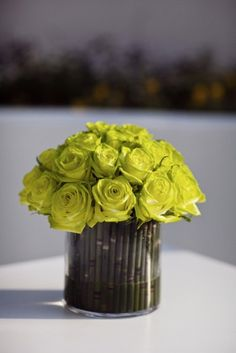 bamboo centerpiece with roses. like the bamboo lining cylindrical vases in different heights when greenery in various shades at the center Chartreuse Wedding, Green Wedding, Floral Wedding, Wedding Colors, Wedding Flowers, Chartreuse Color, Wedding Greenery, Bamboo Centerpieces, Wedding Centerpieces